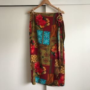 Express Retro Vintage-Style Tropical Wrap Skirt